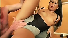 Asian slut Kayme gets a fat bone and has him pound her cunt deep