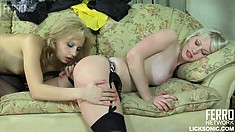 Exciting young blondes Natali and Irene indulge in hot lesbian action on the couch