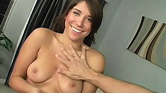 Stunning brunette with big tits seduces her neighbor and wildly fucks his big dick