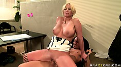 Busty bitch almost passes out from pleasure on top of big dick