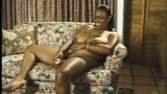 Full chocolate hottie Lola baring her enormous natural knockers