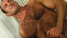 Horny navy guy slides a cock in his mouth and then takes it up his ass