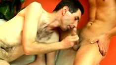 Hairy brunette dude gets his ass and mouth pounded balls deep