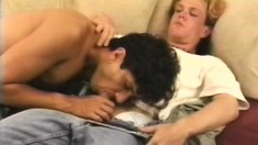Cute blonde guy blows his partner's dick and then gets fucked in the ass